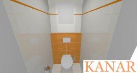 vizualizácia bytového jadra Vivida oranžová